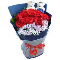 遇见-11枝红玫瑰花束送朋友老婆女友爱情友情生日情人节七夕节圣诞节女神节