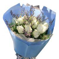 将爱进行到底-11枝白玫瑰送朋友闺蜜老婆女友同事客户领导老师爱情友情白色情人节