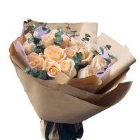 心与你同在-19枝香槟玫瑰送朋友老师闺蜜同事领导客户爱情友情圣诞节父亲节