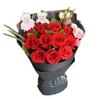 千夜恋歌-11枝红玫瑰花束送老婆女友朋友友情爱情生日情人节七夕节520表白圣诞节