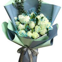 爱意久久-21枝白玫瑰送朋友同事客户老师领导女友闺蜜老婆爱情友情白色情人节
