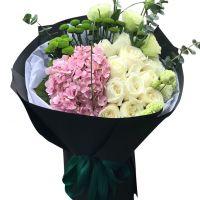 两人的协奏曲-11枝白玫瑰绣球送朋友老婆女友同事闺蜜老师领导客户爱情友情白色情人节