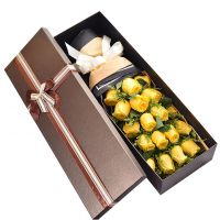 感谢爸爸-19枝黄玫瑰礼盒送父亲感恩节父亲节