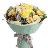 父亲节快乐-黄玫瑰香槟玫瑰18枝送父亲朋友友情父亲节