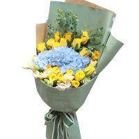 父亲永远快乐-19枝黄玫瑰绣球送父亲道歉感恩节