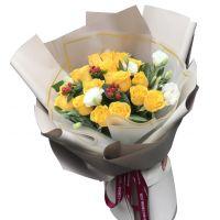 烟消云散-18枝黄玫瑰送朋友同事父母长辈道歉感恩节