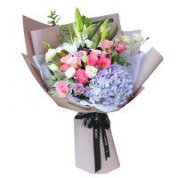 爱的祝福-百合绣球玫瑰组合送女友老婆朋友闺蜜同事老师祝福爱情友情情人节圣诞节