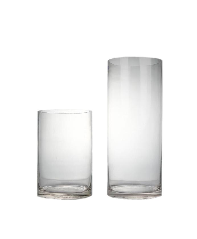 玻璃花瓶-直筒透明花瓶 创意玻璃花瓶透明摆件客厅插花富贵竹水养家用北欧干花百合鲜花瓶 口径9cm高15cm