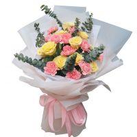 美好的祝愿-11枝康乃馨黄玫瑰送女友老婆父母长辈道歉感恩节