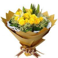天涯咫尺-19枝黄玫瑰百合送女友老婆父母长辈道歉