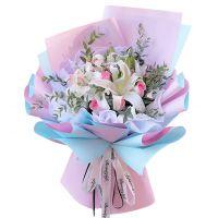 美丽的邂逅-9朵白百合粉玫瑰送朋友送老婆女友爱情友情生日情人节七夕节圣诞节女神节