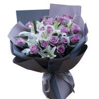 情满一生-18枝紫玫瑰香水百合送老婆女友朋友闺蜜友情爱情圣诞节