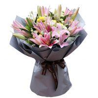 浪漫纯情-27朵粉百合黄玫瑰送女友老婆女友父母长辈爱情道歉
