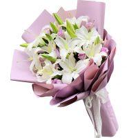 圣洁的祝福-6枝百合9枝紫玫瑰送老婆女友朋友同事闺蜜老师爱情友情祝福客户圣诞节