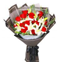 真诚祝福-16枝红玫瑰香水百合送女友老婆父母朋友爱情友情情人节七夕节女神节圣诞节