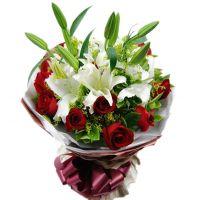 花香四溢-16枝红玫瑰5枝百合送朋友同事女友老婆老师情人节七夕节圣诞节爱情