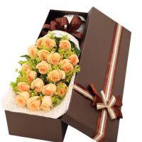 快乐无限-19枝香槟玫瑰礼盒送朋友闺蜜老师同事领导客户女友老婆爱情友情父亲节圣诞节