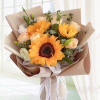 向日葵香槟玫瑰组合花送父母送领导送同事送朋友女神节