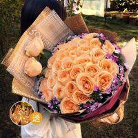 33枝香槟玫瑰送父母送女友送老婆送闺蜜情人节女神节母亲节