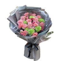 爱的陪伴 粉色绿色康乃馨洋桔梗花束送母亲老师母亲节女神节感恩节重阳节