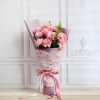 无微不至-11枝粉色康乃馨小花束送老师客户会议祝福教师节女神节