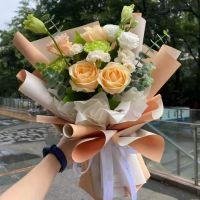 美丽心愿-香槟玫瑰康乃馨花束送老师客户女神节教师节会议祝福