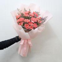健康活力-19枝粉色康乃馨花束送老师妈妈客户会议祝福女神节母亲节教师节