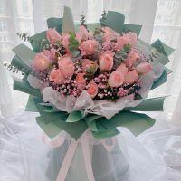 爆款-27枝粉玫瑰粉满天星花束送女友老婆客户老师朋友闺蜜情人节女神节圣诞节
