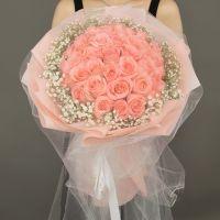 爆款-33枝粉玫瑰花束送女友老婆爱情友情生日情人节七夕节女神节