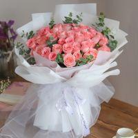 爆款-33枝粉玫瑰花束送女友老婆生日周年纪念情人节七夕节520表白女神节