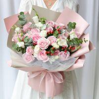 爆款-19枝粉雪山玫瑰花束送女友老婆闺蜜老师生日周年纪念情人节七夕节圣诞节