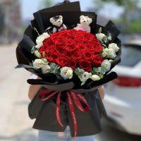 爆款-33枝红玫瑰花束送女友老婆生日周年纪念情人节七夕节520表白圣诞节女神节
