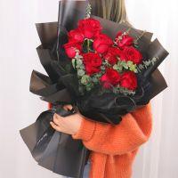 爆款-11枝红玫瑰花束送女友老婆生日周年纪念情人节七夕节520女神节圣诞节