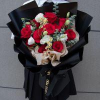 爆款-11枝红玫瑰洋桔梗洋甘菊花束送女友老婆生日周年情人节七夕节女神节圣诞节520
