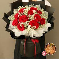 爆款-11枝红玫瑰花束送女友老婆生日周年情人节女神节七夕节圣诞节520
