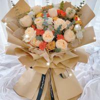 爆款-12枝香槟玫瑰橙色玫瑰花束送女友老婆男友闺蜜客户领导情人节七夕节520圣诞节