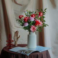 家养鲜花--红玫瑰粉扶郎粉乒乓菊 到店取