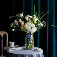 家养鲜花--白绣球香槟玫瑰绿色康乃馨 到店取