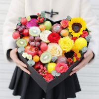 向日葵红玫瑰鲜花水果礼盒中秋节感恩节国庆节端午节春节父亲节重阳节