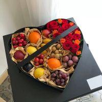 红玫瑰多头玫瑰鲜花水果礼盒中秋节感恩节国庆节端午节春节父亲节重阳节