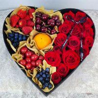 15枝红玫瑰鲜花水果礼盒中秋节感恩节国庆节端午节春节父亲节重阳节